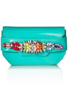 Steve Madden Pauline Patent Multi Colored Jewels and Rhinestones Clutch Crossbody turquoise
