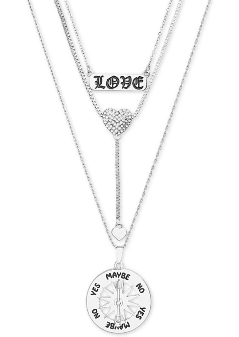 "Steve Madden Pave Heart ""Love"" Layered Pendant Necklace, 15"" + 3"" extender"