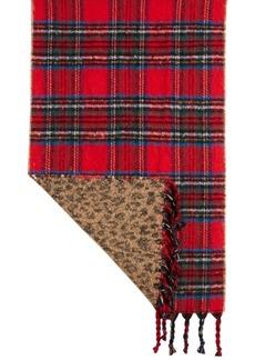 Steve Madden Plaid & Animal Print Reversible Blanket Scarf