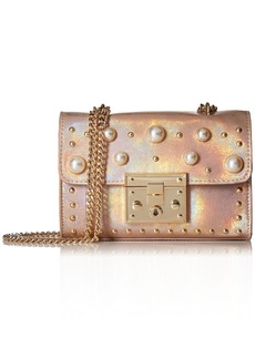 Steve Madden Prince Push Lock Mini FLAPOVER Crossbody with Pearls Ladies PU Satchel