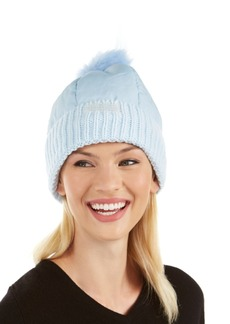 Steve Madden Puffer Hat With Faux-Fur Pom-Pom