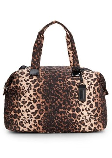 Steve Madden Quilted Leopard-Print Duffle Bag