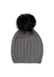 Steve Madden Rib Knit Faux-Fur Pom Pom Beanie