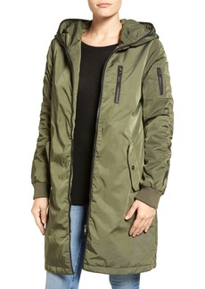 Steve Madden Ruched Hooded Parka