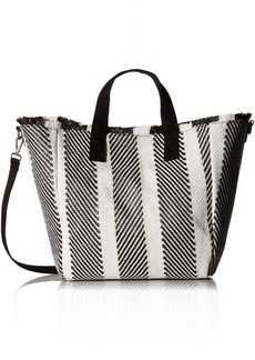 Steve Madden Rumi Multi Colored Woven GEOMTRIC Pattern Beach Tote with Zipper Pouch black