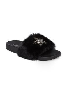 Steve Madden Shimmer Embellished Faux Fur Slide (Women)