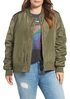Steve Madden Side Zip Bomber Jacket (Plus Size)
