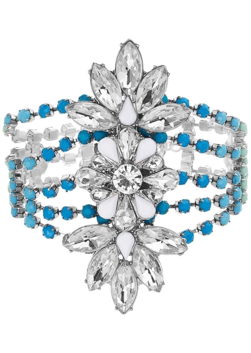Steve Madden Silver-Tone Crystal & Stone Flower Statement Bracelet
