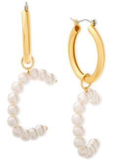 "Steve Madden Small Imitation Pearl Initial Hoop Earring 1.1"""