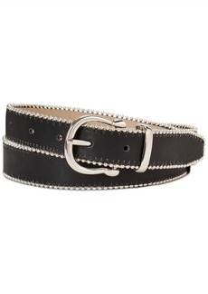 Steve Madden Smooth Belt With Ball-Chain Edge