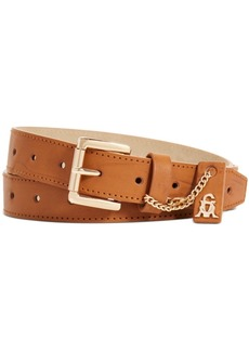 Steve Madden Smooth Perforated Pant Belt with Logo Ornament