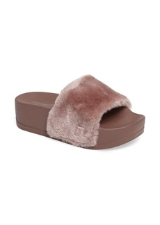 Steve Madden Softey Faux Fur Platform Slide (Women)