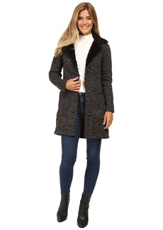 Steve Madden Sweater Fleece Coat with Faux Fur Trim