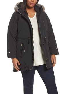 Steve Madden Taslon Parka with Faux Fur Trim Hood (Plus Size)
