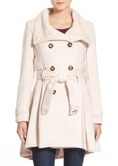 Steve Madden Textured Double Breasted Skirted Coat
