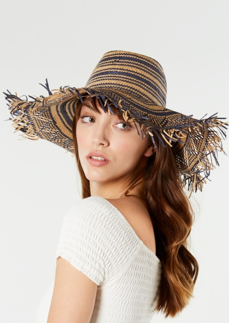 Betsey Johnson Steve Madden Textured Striped Sun Hat
