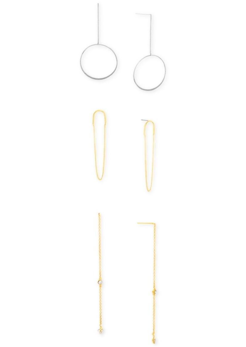 Steve Madden Three Piece Dangle Earring Set