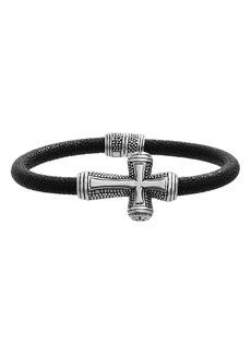 Steve Madden Two-Tone Cross Leather Bracelet