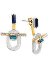 Steve Madden Two-Tone Pave & Stone Front-and-Back Earrings