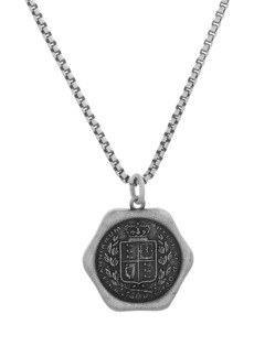 Steve Madden Two-Tone Wax Seal Pendant Necklace