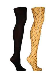 Steve Madden Women's 2 Pack Large Fishnet and Solid Opaque Tights, Online Only