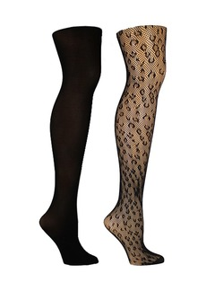 Steve Madden Women's 2 Pack Leopard and Solid Opaque Tights, Online Only