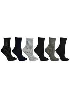 Steve Madden Women's 6 Pack Dot & Solid Crew Sock, Online Only