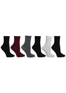 Steve Madden Women's 6 Pack Texture & Solid Crew Socks, Online Only