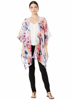 Steve Madden Women's Abstract Kimono with Lace Insert white/multi