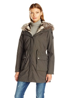 Steve Madden Women's Anorak with Detachable Faux Fur Liner M
