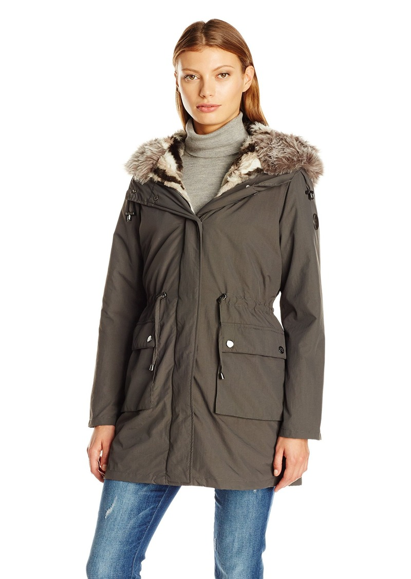 Steve Madden Women's Anorak with Detachable Faux Fur Liner  S