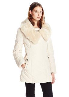 Steve Madden Women's Asymmetrical Zip Front Puffer Coat