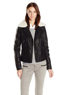 Steve Madden Women's Asymmetrical Zip Pu Moto Jacket Black IAFBK M
