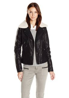 Steve Madden Women's Asymmetrical Zip Pu Moto Jacket  S