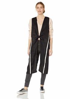 Steve Madden Women's Athletic Stripe Cast Away Duster Vest black M/L