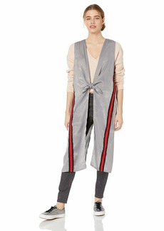 Steve Madden Women's Athletic Stripe Cast Away Duster Vest grey M/L