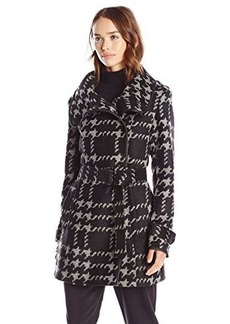 Steve Madden Women's Belted Wrap Coat with Fold Collar