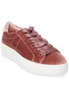Steve Madden Women's Bertie Velvet Lace-Up Sneakers Women's Shoes