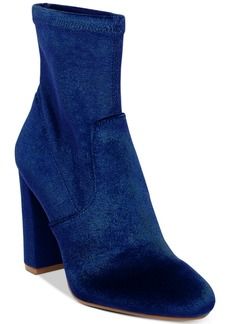 Steve Madden Women's Brisk Velvet Block-Heel Sock Booties Women's Shoes