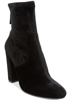 Steve Madden Women's Brisk Velvet Block-Heel Sock Booties Women's Shoes