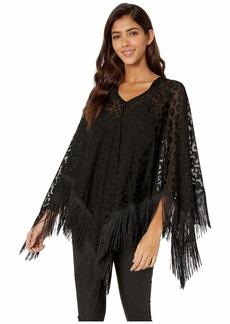 Steve Madden Women's Burnout Poncho with Piano Fringe
