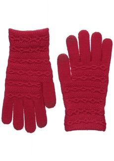 Steve Madden Women's CABLE I TOUCH BRUSH LINING GLOVE Accessory -red ONE SIZE