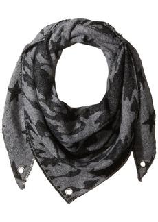 Steve Madden Women's Camo Stars Triangle Blanket Wrap Scarf grey