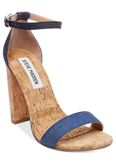 Steve Madden Women's Carrson Two-Piece Cork-Block-Heel Sandals Women's Shoes