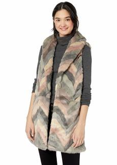 Steve Madden Women's Chevron Color Block Faux Fur Vest  Medium/Large