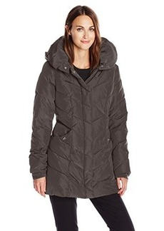 Steve Madden Women's Chevron Packable Puffer Jacket with Hood  X-Large