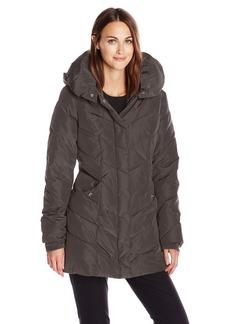 Steve Madden Women's Chevron Packable Puffer Jacket with Hood  X-Large