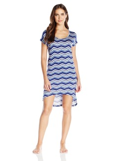 Steve Madden Women's Chevron Print High-Low Sleep Shirt