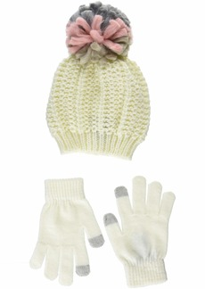 Steve Madden Women's Chunky Pom Hat with Etouch Glove Set neutral ONE SIZE