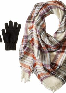 Steve Madden Women's Classic Plaid Square Blanket Wrap with Etouch Glove Set taupe ONE SIZE